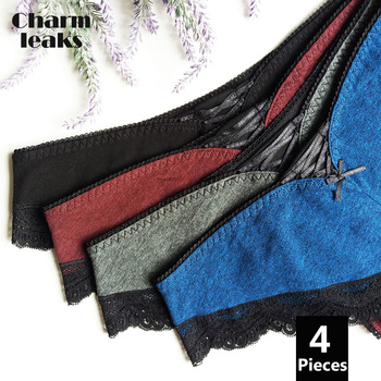 Charmleaks Women's Thong Lace Underwear Sexy Panties V String Panties Tanga Briefs Cotton 4 Pack 2019 Hot Sale Bottom Underwear 2