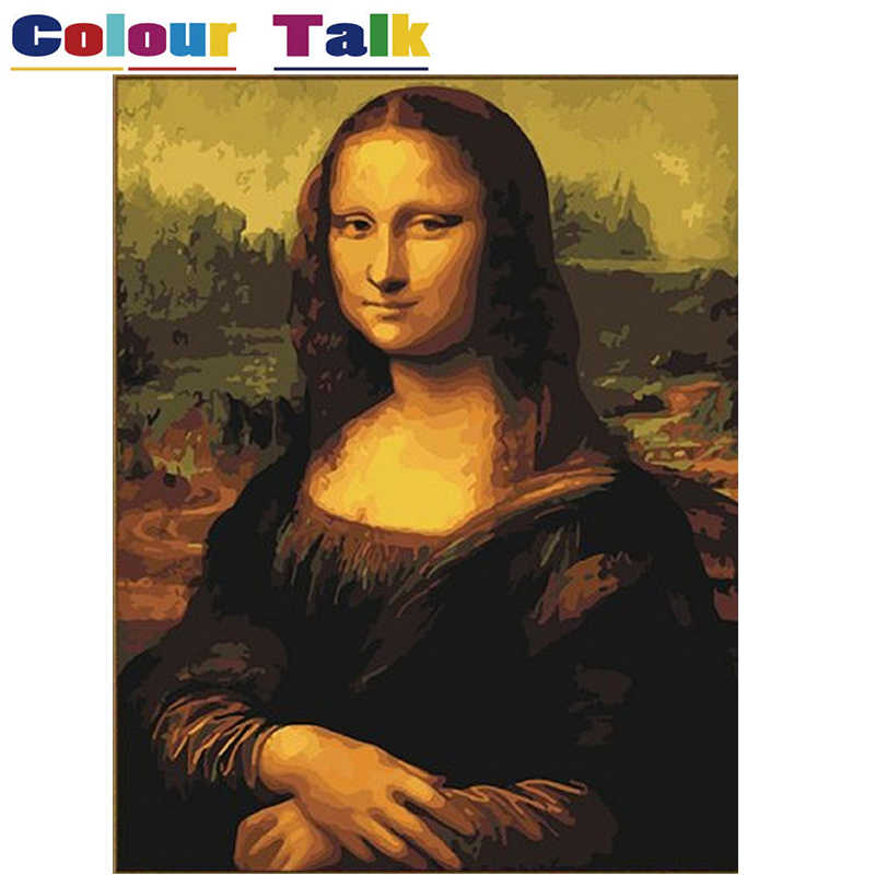 Coloring Pictures for Living Room Wall Oil Painting by Numbers DIY on Canvas Drawing Mona Lisa Smile by Leonard Da Vinci P-0191