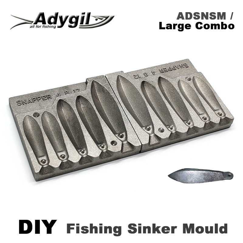 US $33 2 19% OFF Adygil DIY Fishing Snapper Sinker Mould ADSNSM/Large Combo  Snapper Sinker 112g 224g 336g 5 Cavities-in Fishing Tools from Sports &