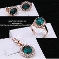 S107 Rose Banhado A Ouro AAA Cristal Austríaco Jóias Conjunto Verde com 3 Pcs Anel + Colar + Eearrings Para Mulheres atacado