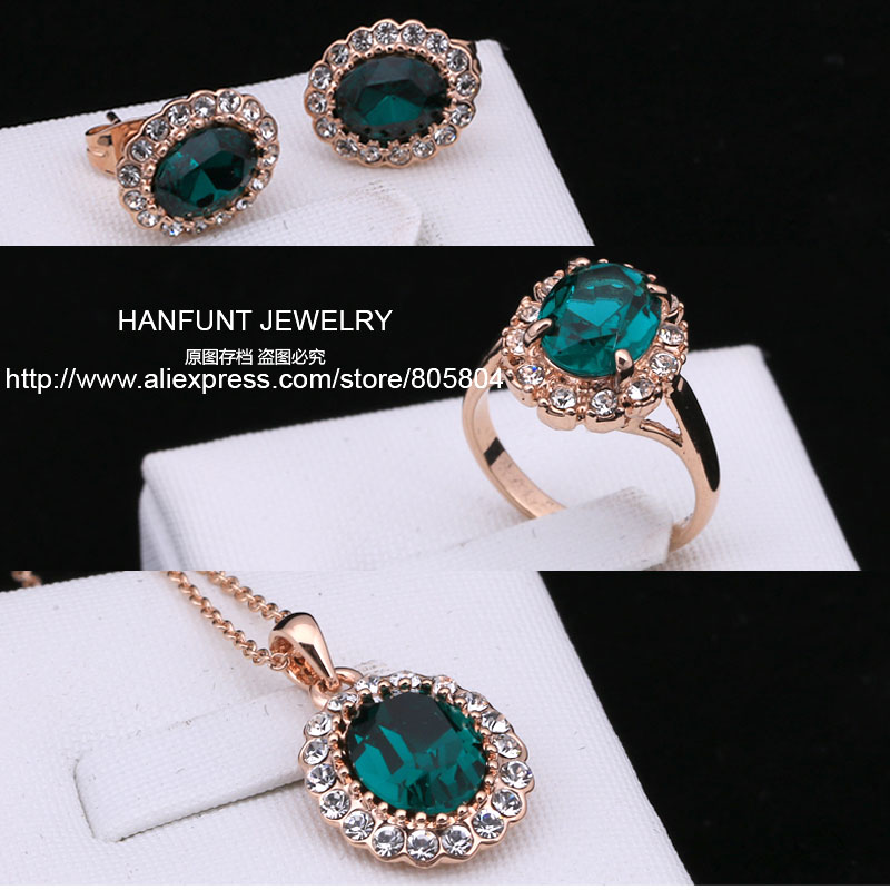 S107 Rose Gold Color AAA Green Austrian Crystal Jewelry Set With 3 Pcs Ring Necklace Eearrings