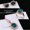 S107 Rose Gold Plated AAA Green Austrian Crystal Jewelry Set With 3 Pcs Ring + Necklace + Eearrings For Women Wholesale