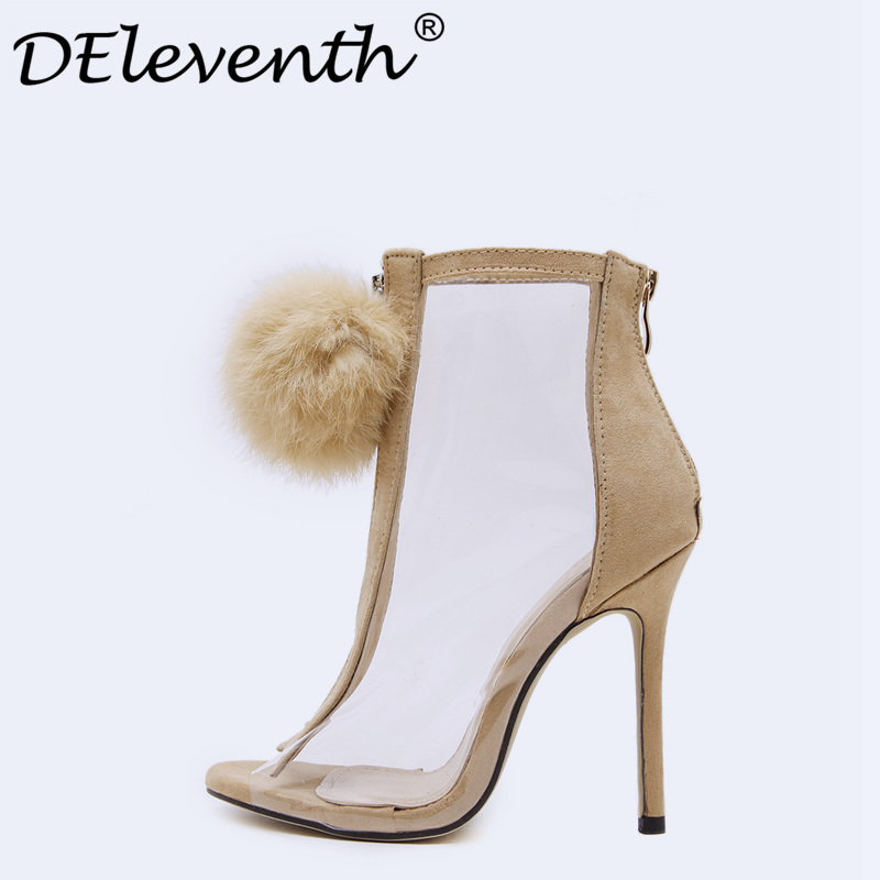 Women Summer Shoes Gladiator High-Heeled Sandals 2017 Fur Zipper Fashion Stiletto Heels ankle boots Women Boots Sexy shoes 40 women sandals 2017 summer gauze high heeled shoes lace fish mouth women sandals fashion summer ankle boots s069