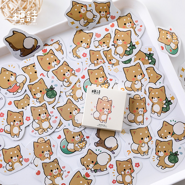 45 Pcs Adorable Little Dog Memo Stickers Pack Cute Kawaii Planner Diary Stickers Scrapbooking Stationery Escolar School Supplies