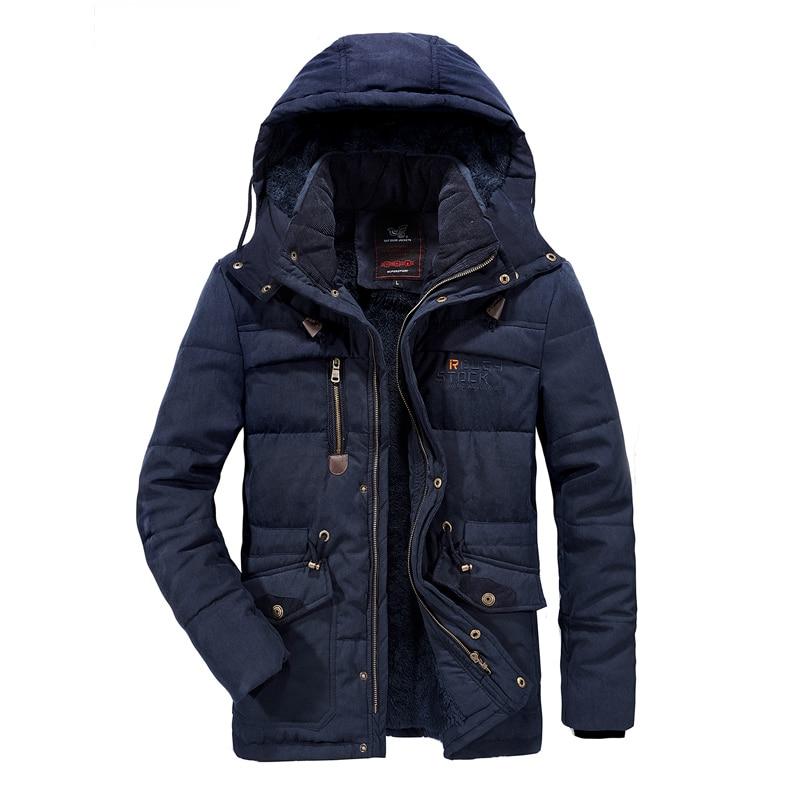 2019 Thick Warm   Parka   Fleece Fur Hooded Military Jacket Coat Pockets Windbreaker Jacket Men Men Winter Jacket 6XL 7XL 8XL