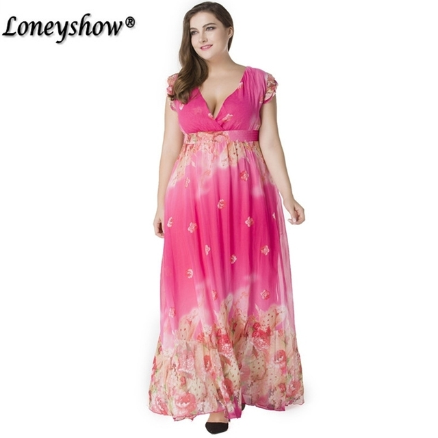 d2e812c119 Curved Appeal Women Summer Chiffon Floral Print Dress Sexy V Neck Short Petal  Sleeve Plus Size 7XL Elegant Long Maxi Beach Dress