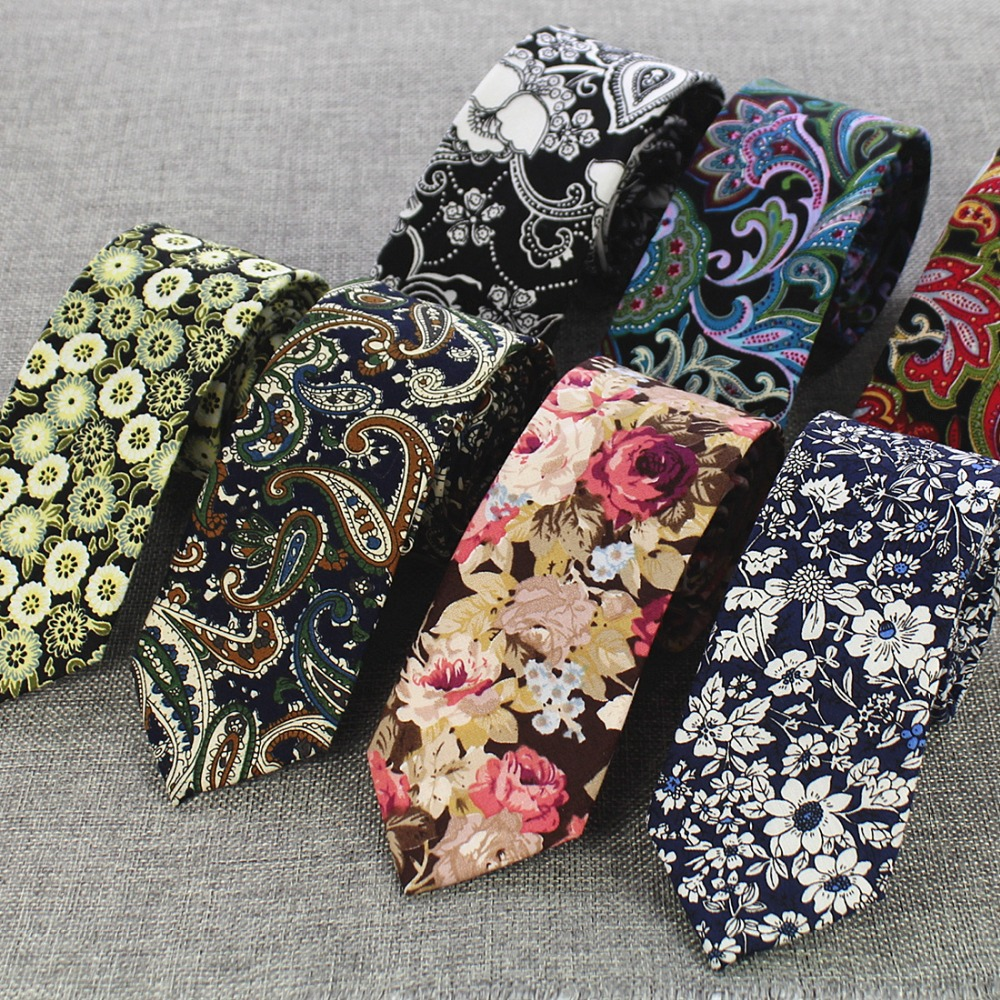 RBOCOTT Mens Cotton Ties 6 Cm Slim Tie Paisley Tie Classical Floral Ties Casual Neckties Vintage Skinny Ties For Wedding Party