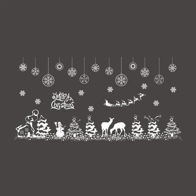 TOPATY Рождественская Снежинка лося Плинтус Линии Shop декоративная наклейка на окно стены Стикеры для Новогоднее украшение