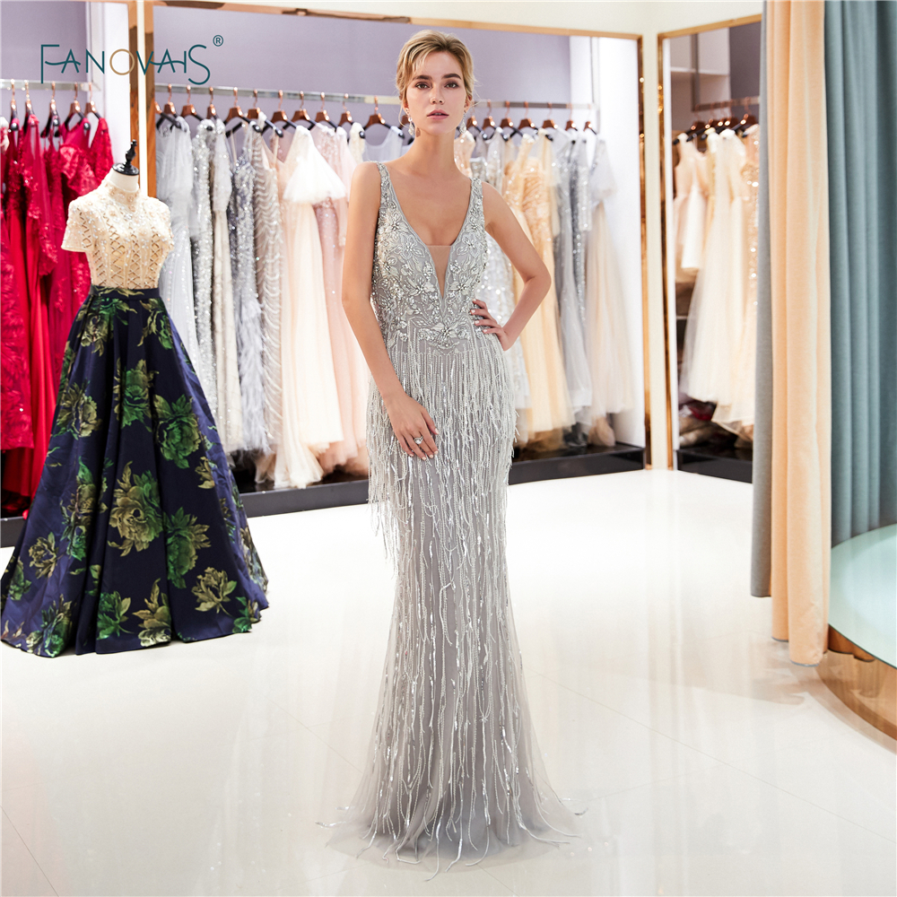Sexy Silver Mermaid Evening Dresses Long 2019 V-Neck Heavy Beaded Prom Dresses Tassels Evening Gown Robe de Soiree QS1
