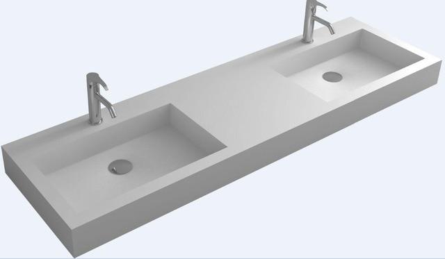 Bathroom Rectangular Wall Mounted Corian Wash Sink Matt Solid