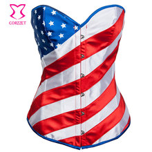 American Flag Print Overbust Burlesque sexy Corset Basque Underwear lingerie Pattern Cotton Corselet Body Waist Trainer Bustier