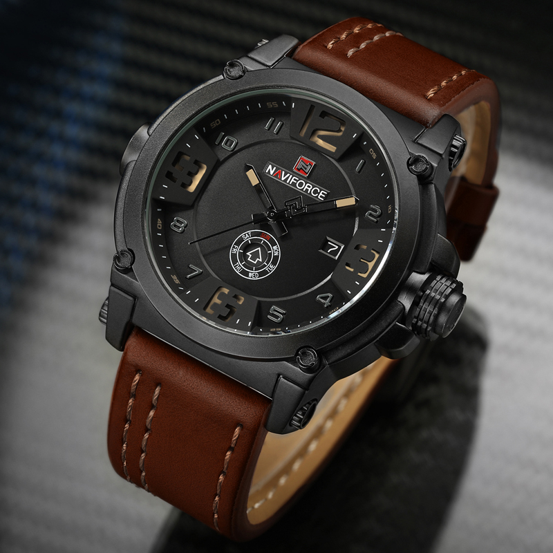 купить NAVIFORCE Brand Watches Men Military Sport Waterproof Leather Quartz Watch Man Fashion Wristwatch Male Clock relogio masculino по цене 1264.07 рублей