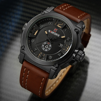 NAVIFORCE Brand Watches Men Military Sport Waterproof Leather Quartz Watch Man Fashion Wristwatch Male Clock Relogio