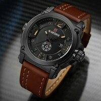 NAVIFORCE Brand Watches Men Military Sport Waterproof Leather Quartz Watch Man Fashion Wristwatch Male Clock Relogio