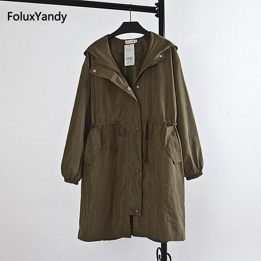 Brand New Women Hooded   Trench   Coat Plus Size 3XL Casual Loose Long   Trench   Outerwear KK1358
