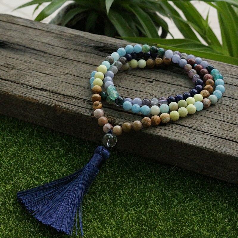 8mm Lapis And Aquamarine Mala Beads Necklace,Beach Color Of The Sea And Sky Mala, 108 Bead Mala, Mala Jewelry, Mala Prayer Beads