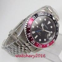 40mm parnis relógios mecânicos preto vermelho rotativo bisel mostrador preto gmt marcas luminosas vidro de safira relógio automático dos homens
