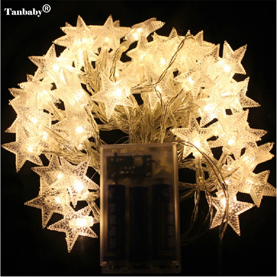 4M 40LEDs 3AA Batteridrevne STAR Shaped Tema LED String Fairy Lights Christmas Holiday Wedding Decoration Party Lighting