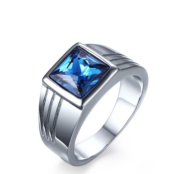 Hot Sale Anillos De Plata Charm Blue Stone Titanium Ring silver color Skyrim Vintage Crystal Rings For men titanium ring