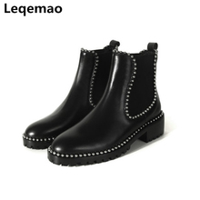 Shoes - Womens Shoes - New Winter Ankle Boots For Women Shoes Fashion Soft Genuine Leather High Quality 3cm Heels Martin Boots Women Casual Shoes 34-40