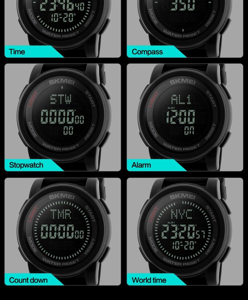 SKMEI 2019 Compass Men Sport Watch 50M Waterproof Man Outdoor Countdown Digital Watch electronic Watch For Men reloj hombre (6)