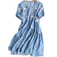 2018 New Summer Sweet O Neck Dress Vintage Women Floral Embroidery Denim Dress Female Summer Short