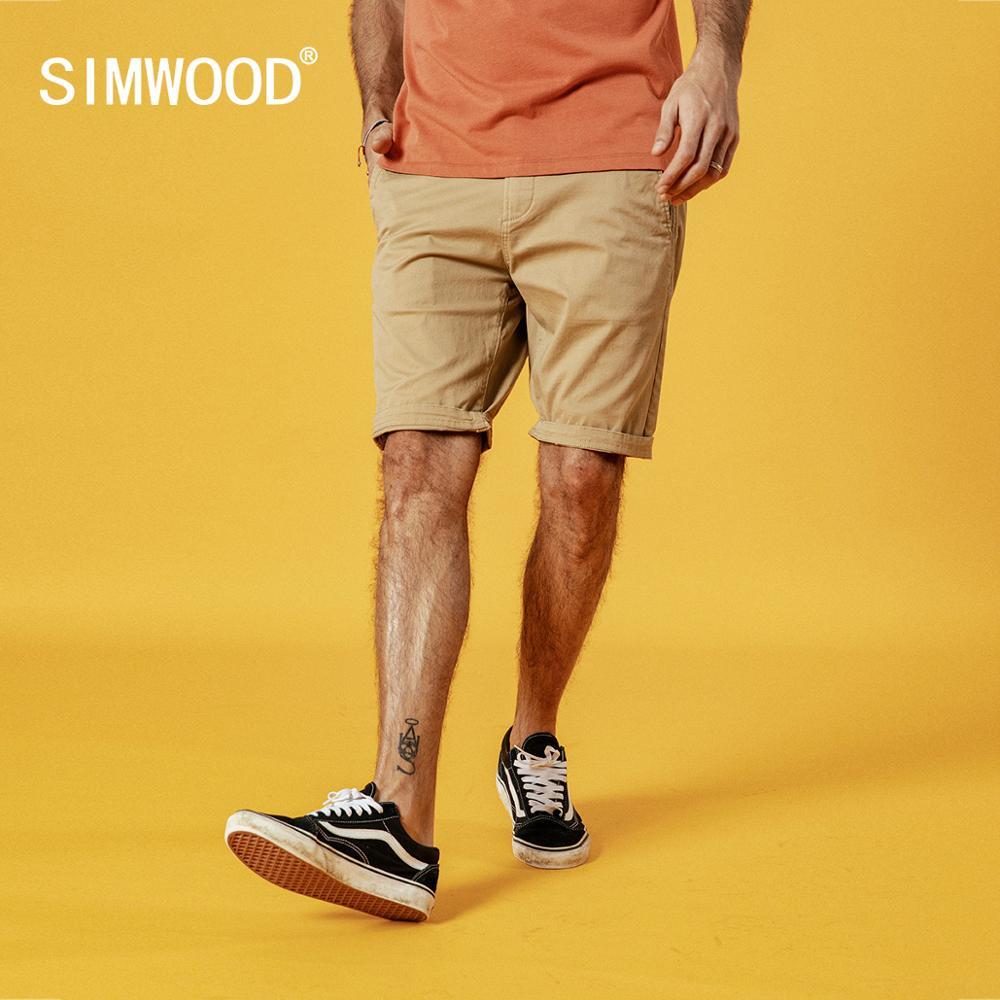 SIMWOOD 2020, Летние Новые однотонные мужские шорты, хлопок, облегающие, длина до колен, повседневная мужская одежда, высокое качество, плюс размер, 9 цветов в наличии|Шорты| - AliExpress