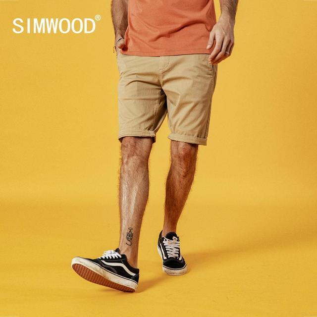 Simwood shorts masculinos de algodão, bermudas masculinas de alta qualidade na altura do joelho casuais, tamanho grande 9, verão 2020 cor disponível