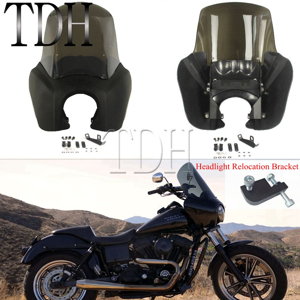 US $116 15 19% OFF|Motorcycle Black Headlight Fairing Clear/Smoke  Windshield Screen For Harley Dyna Fat Bob Low Rider Wide Glide 1987 2017-in  Covers &