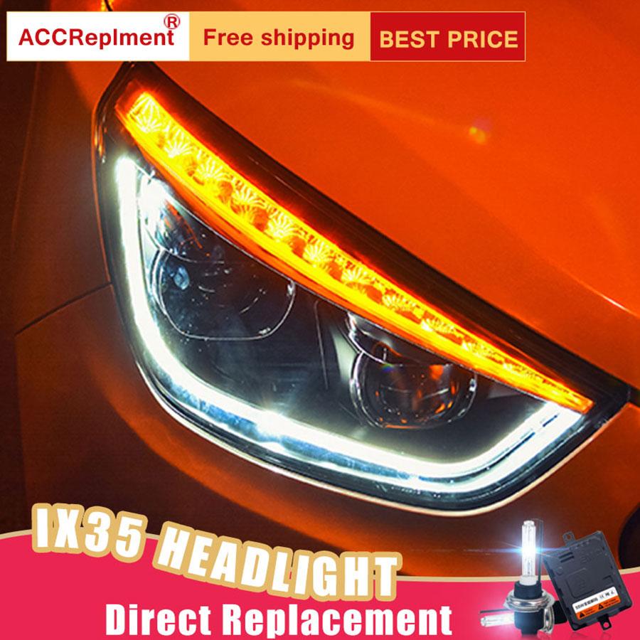 2Pcs LED Headlights For Hyundai ix35 2013-2015 led car lights Angel eyes xenon HID KIT Fog lights LED Daytime Running Lights салонная лампа 006 ix35 led