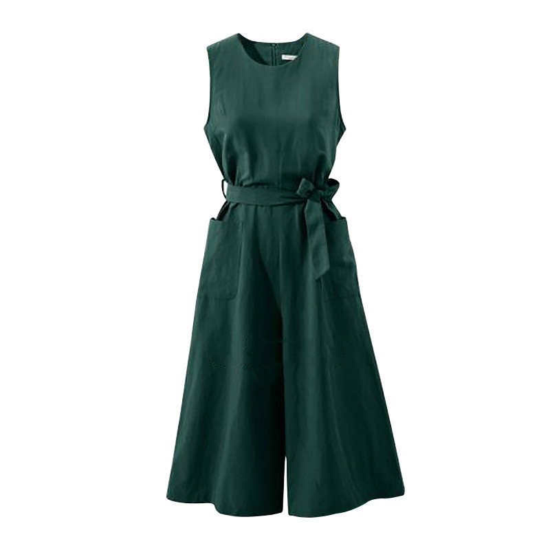 Women Elegant Wide Leg Long Jumpsuit With Belt 2018 Summer Plus Size Jumpsuits Casual Solid Rompers With Pockets 2