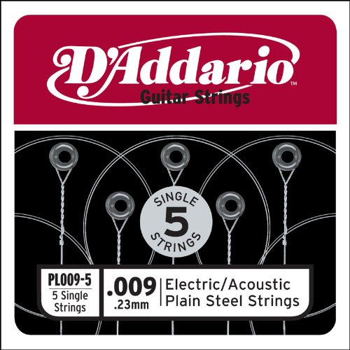 D'Addario PL009-5 Plain Steel Guitar Single String for Acoustic and Electric Guitar, .009, 5-pack 10 pack alice a503 009 010 in electric guitar strings e 1st single plated steel string free shipping