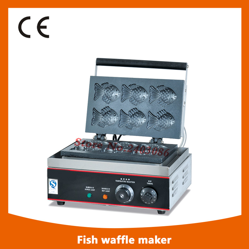 KW-E6Q stainless steel waffle machine  fish shape waffle maker for snack equipment fast food leisure fast food equipment stainless steel gas fryer 3l spanish churro maker machine