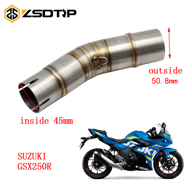 ZSDTRP Motorcycle <font><b>Exhaust</b></font> Middle Pipe For <font><b>SUZUKI</b></font> <font><b>GSX250R</b></font> Without <font><b>Exhaust</b></font> image
