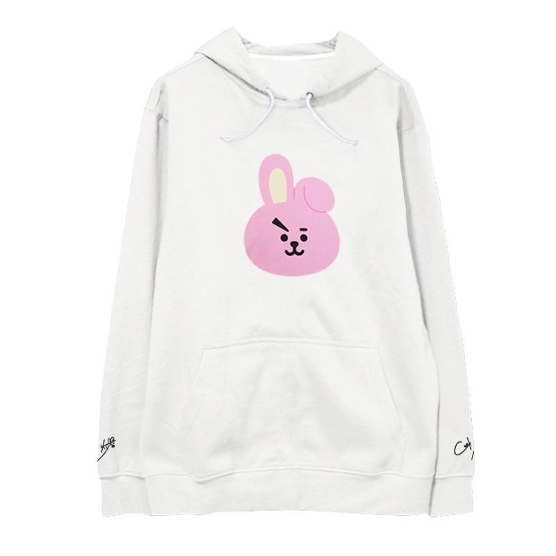 kpop BTS cartoon Bangtan Boys same paragraph sweater female autumn and winter plus velvet hooded lovers influx of students k-pop