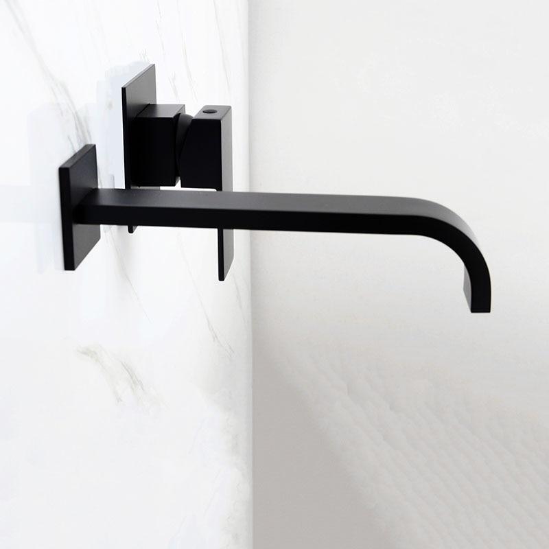 Mitigeur d'eau mural en laiton noir et Chrome mat pour salle de bain robinet mitigeur en laiton de qualité pour salle de bain robinet noir chaud et froid - 4