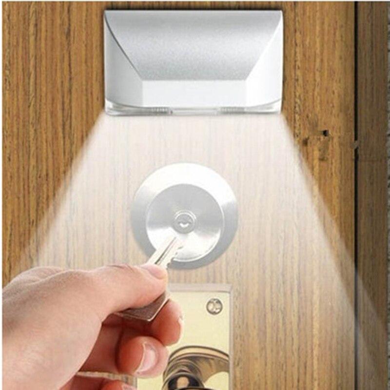 4 LED Door Lock Body Motion Sensor Night Light With Sticker PIR Keyhole Sensitive