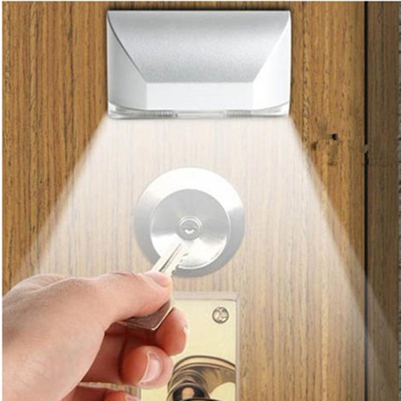 New 4 LED Door Lock Body Motion Sensor Led Night Light With Sticker PIR Keyhole Sensitive Detector Lamp Indoor Lighting