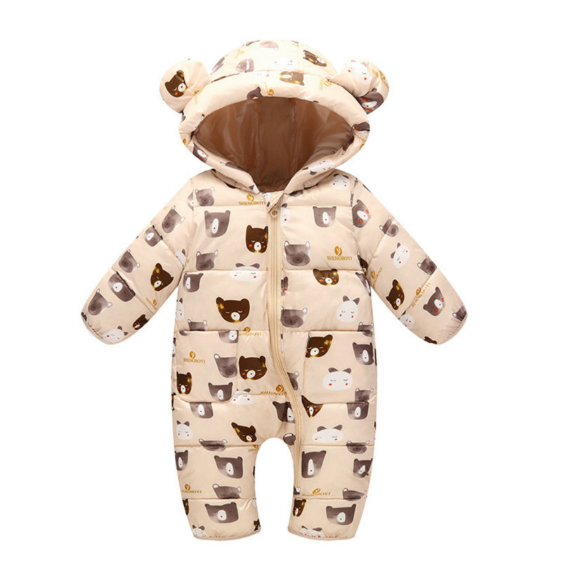 Winter Baby Girl   Romper   Autumn Thick Warm Infant Clothes Newborn Baby Boy Girl   Romper   Jumpsuit Hooded Kid Outerwear for 0-24M