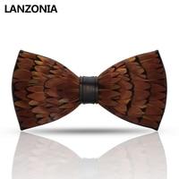 Lanzonia Feather Brown Mens Bow Tie Male Fashion Designer Wedding Bowtie Handmade Novelty Unique Cool Neckwear