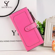 RUO FEI women famous brand Oil wax leather zipper clutch wallet female candy color burglar robbed purse lady Multi-function phon