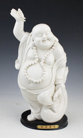 Elaborate Chinese Dehua white porcelain happy smiling Buddha statue No.2