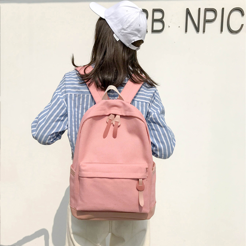 2019 Women Backpack for School Teenagers Girls Vintage Stylish School Bag Ladies Canvas Fabric Backpack Female Bookbag Mochila