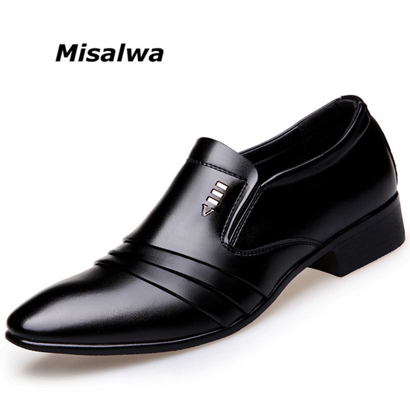 Misalwa Drop Shipping 38-46 Wrinkle Pattern Fashion Men British Dress Shoes Men Business Leather Shoes Men Oxfords Flats 2018 men s dress shoes crocodile pattern british work shoes men s business shoes elegant fashion shoes with suit