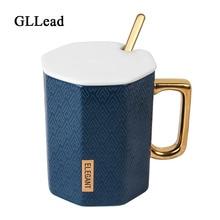 GLLead Creative Diamond Shape Ceramic Coffee Mug Golden Hand Elegant Milk Cup With Lid And Spoon Fashion Office Teacup Porcelain creative office spoof teacup ceramics coffee cup piggy nose mug