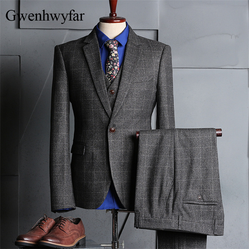 gwenhwyfar 2018 new vintage plaid suits 3 pieces tweed. Black Bedroom Furniture Sets. Home Design Ideas