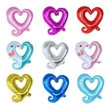 10 pçs/lote 18 polegada Gancho Coração-Em Forma de Balão de Hélio Balão de Casamento Decoração De Aniversário do Dia Dos Namorados Coração Folha De Gogo balão