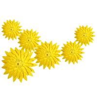 HAOCHU Yellow Series 6pcs/lot Round Paper Flowers Little Daisy For Wedding Event Birthday Party Kid Baptism Decoration Set