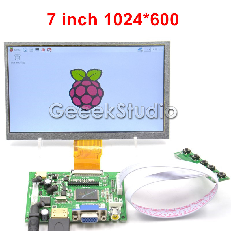Raspberry Pi 7 inch LCD Display 1024 600 TFT Monitor Screen with Drive Board HDMI VGA