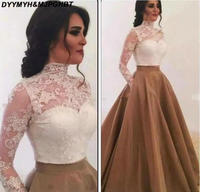 2018 Fashion Lace Saudi Arabia Evening Dresses High Neck Sheer Long Sleeves Two Pieces Ball Gown Formal Prom Gowns
